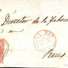 Sellos: AÑO1856 EDIFIL 48 ISABEL IIFRONTAL MATASELLOS REJILLA Y ROJO ORIHUELA ALICANTE. Lote 182988062
