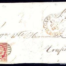 Sellos: AÑO1853 EDIFIL 17 ISABEL II FRONTAL MATASELLOS REJILLA Y ROJO CACERES EXTREMADURA. Lote 182990736
