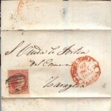 Sellos: AÑO1853 EDIFIL 17 ISABEL II FRONTAL MATASELLOS REJILLA Y ROJO TARAZONA ARAGON. Lote 182991145