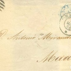 Sellos: AÑO1856 EDIFIL 44 ISABEL II CARTA MATASELLOS REJILLA Y MALAGA * MEMBRETE J.HERNANDEZ MOLINA . Lote 182993595