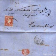 Sellos: AÑO1856 EDIFIL 48 ISABEL II CARTA MATASELLOS RUEDA DE CARRETA 55 MEDINA DEL CAMPO VALLADOLID. Lote 182995458