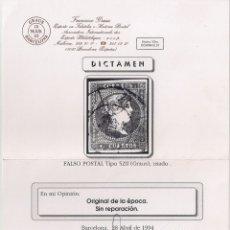 Sellos: FALSO POSTAL 4 CUARTOS ROJO EDIFIL Nº 48 TIPO V - EXPERTIZADO GRAUS. Lote 183096137