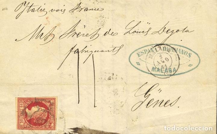 ESPAÑA. ISABEL II. PERIODO SIN DENTAR. SOBRE 53. 1861. 12 CUARTOS CARMÍN. MALAGA A GENOVA (ITALIA). (Sellos - España - Isabel II de 1.850 a 1.869 - Cartas)