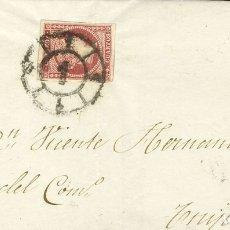 Sellos: ESPAÑA. ISABEL II. PERIODO SIN DENTAR. SOBRE 48B. 1860. 4 CUARTOS ROJO (TIPO III). MADRID A TRUJILL. Lote 183111533