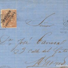 Sellos: ESPAÑA. ISABEL II. PERIODO DENTADO. SOBRE . 1868. 50 CTS CASTAÑO AMARILLO. BAYONA (FRANCIA) A MADRI. Lote 183155676