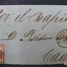 Sellos: FRONTAL DE SEVILLA A CADIZ POR EL RAPIDO CON SELLO DE 4 CUARTOS AÑO 1855. Lote 183416272