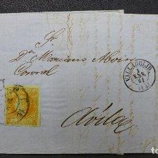 Sellos: CARTA DE VALLADOLID A AVILA CON SELLO DE 4 CUARTOS AÑO 1861 Y SELLO VIDAL CA.. Lote 183423708