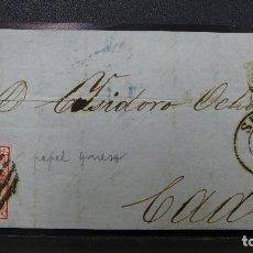 Sellos: FRONTAL DE SEVILLA A CADIZ CON SELLO DE 4 CUARTOS CON PAPEL GRUESO AÑO 1856. Lote 183520713