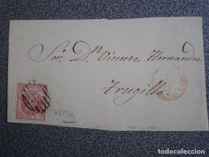 FRONTAL DE CARTA AÑO 1855 PARRILLA SOBRE EDIFIL 33 ORIGEN?? A TRUJILLO (Sellos - España - Isabel II de 1.850 a 1.869 - Cartas)