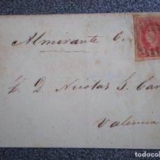 Sellos: ENVUELTA DE CARTA AÑO 1864 PARRILLA SOBRE EDIFIL 64 ORIGEN?? A VALENCIA FECHADOR REVERSO. Lote 183684163