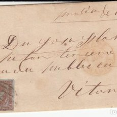Sellos: ENVUELTA CON SELLO NUM. 40 DE MADRID A VITORIA - 1855 - MATASELLOS DE PARRILLA Y FECHADOR. Lote 183699233
