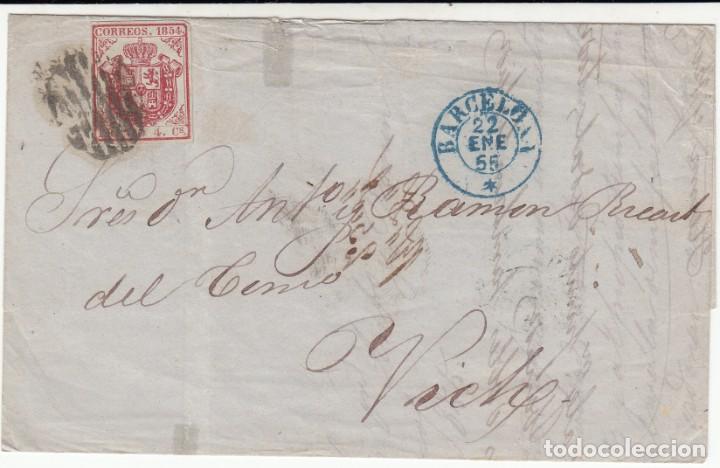 CARTA ENTERA CON SELLO NUM.33 DE HERNANDEZ Y RODRIGUEZ EN C. CUCH DE BARCELONA A VIC- VICH 1855 (Sellos - España - Isabel II de 1.850 a 1.869 - Cartas)