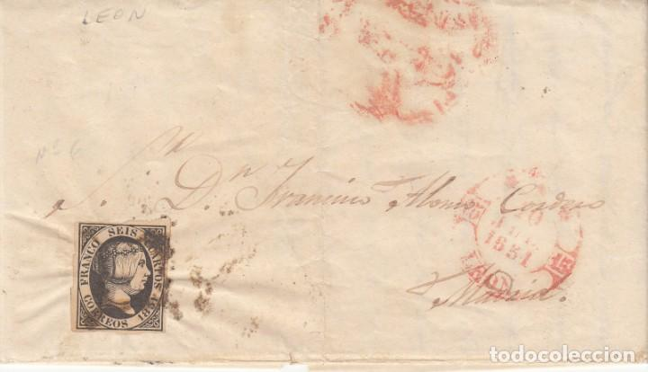 Sellos: CARTA COMPLETA CON SELLO NUM. 6 DE LEÓN A MADRID - 1851 - Foto 1 - 183703838