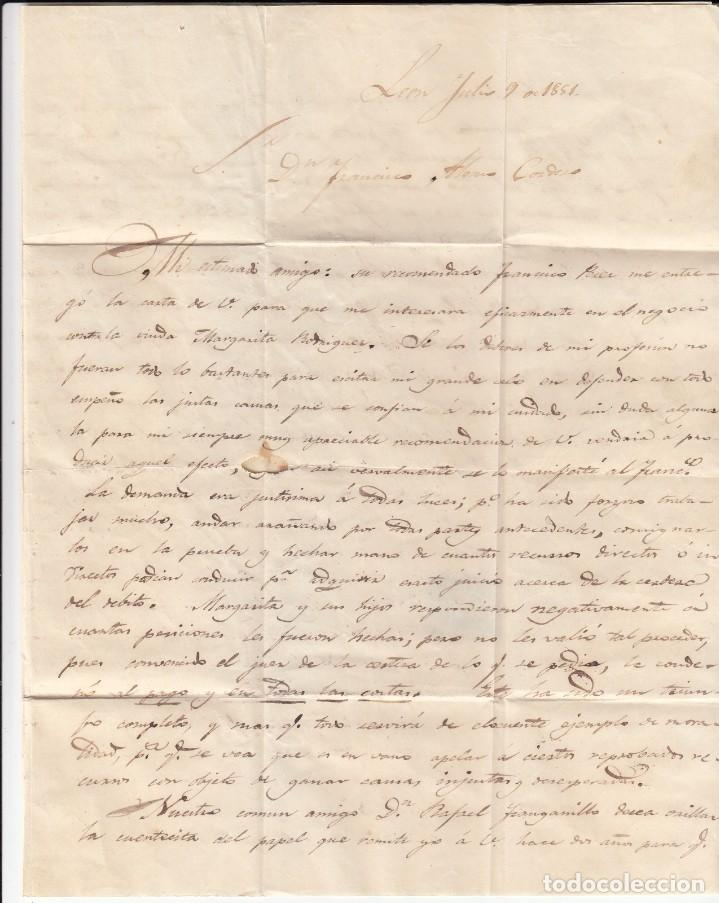 Sellos: CARTA COMPLETA CON SELLO NUM. 6 DE LEÓN A MADRID - 1851 - Foto 3 - 183703838