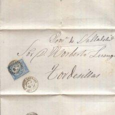 Sellos: AÑO1866 EDIFIL 81 ISABEL II CARTA A TORDESILLAS MATASELLOS ANDUJAR JAEN. Lote 183711325