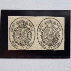 Sellos: 1855, EDIFIL 35, PAREJA DE MEDIA ONZA, NUEVOS CON GOMA Y CON CHARNELA. Lote 184016687