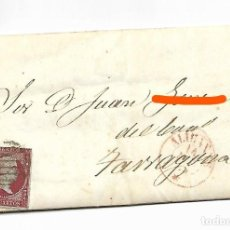 Sellos: ALICANTE A TARRAGONA- SOBRE CARTA COMERCIAL MATASELLOS NEGRO - AÑO 1855 - VER FOTO. Lote 184195002