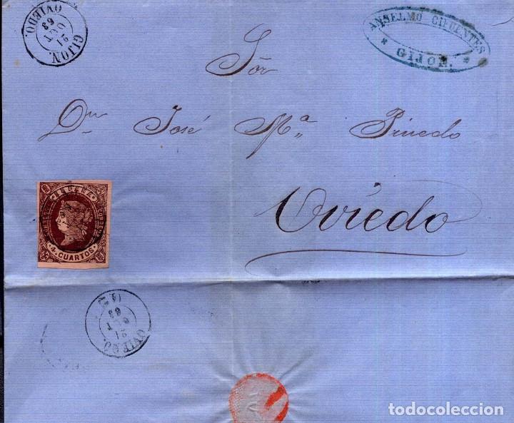 AÑO1862 EDIFIL 58 ISABEL II ENVUELTA MATASELLOS GIJON OVIEDO MEMBRETE DE ANSELMO CIFUENTES (Sellos - España - Isabel II de 1.850 a 1.869 - Cartas)