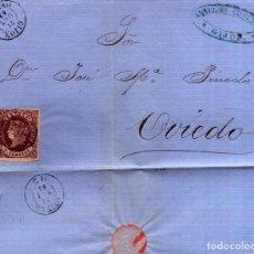 Sellos: AÑO1862 EDIFIL 58 ISABEL II ENVUELTA MATASELLOS GIJON OVIEDO MEMBRETE DE ANSELMO CIFUENTES. Lote 184630630