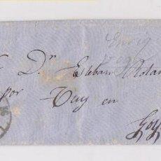 Sellos: SOBRE CON CARTA. RUEDA DE CARRETA DE SANTIAGO. GALICIA. ESTAMPACIÓN DE LUJO. 1861. GOYAN. LA GUARDIA. Lote 184701947
