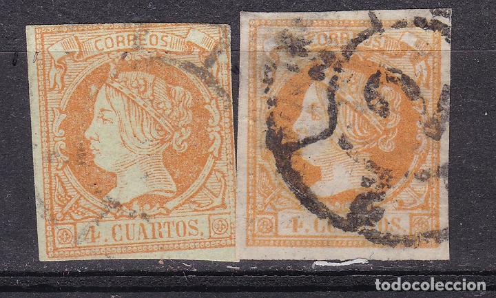 TT1- CLÁSICOS EDIFIL 52 RUEDA DE CARRETA 2 BARCELONA . FALSO POSTAL (Sellos - España - Isabel II de 1.850 a 1.869 - Usados)