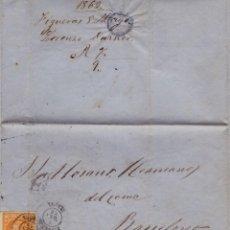Sellos: AÑO1860 EDIFIL 52 ISABEL II CARTA MATASELLOS FIGUERAS GERONA . Lote 185727275
