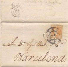 Sellos: AÑO1860 EDIFIL 52 ISABEL II CARTA MATASELLOS RUEDA DE CARRETA 1 MADRID Y MADRID 1 . Lote 185891518