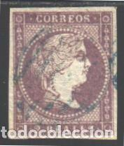 ESPAÑA, 1855 EDIFIL Nº 46, MATASELLOS PARRILLA AZUL, (Sellos - España - Isabel II de 1.850 a 1.869 - Usados)