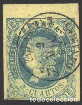 ESPAÑA, 1862 EDIFIL Nº 57, BORDE DE HOJA, (Sellos - España - Isabel II de 1.850 a 1.869 - Usados)