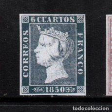 Sellos: EDIFIL 1 NUEVO *, 6 CUARTOS, 1850, ISABEL II. ESPAÑA, SPAIN. Lote 186271387