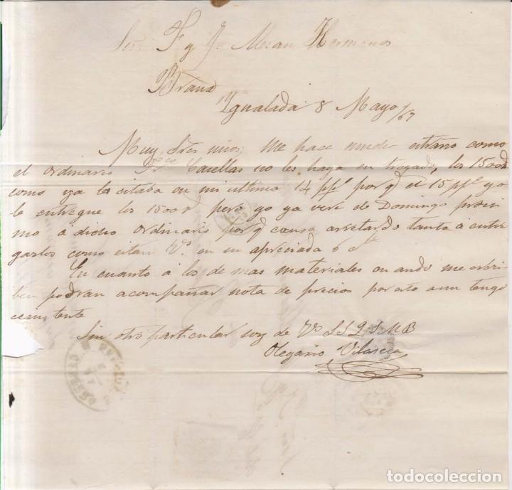 Sellos: Año1867 edifil 88 Isabel II carta matasellos Ygualada Barcelona - Foto 2 - 186349712
