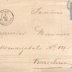 Sellos: AÑO1866 EDIFIL 81 ISABEL II CARTA MATASELLOS VICH BARCELONA MEMBRETE BAURIER HERMANOS . Lote 187331217