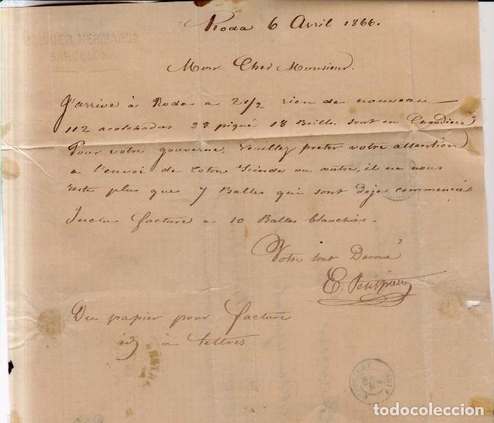 Sellos: Año1866 edifil 81 Isabel II carta matasellos Vich Barcelona membrete Baurier Hermanos - Foto 2 - 187331217