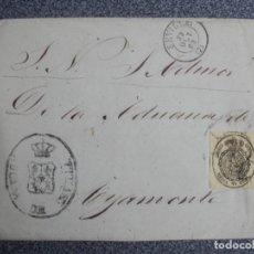 Sellos: FRONTAL CARTA EDIFIL 35 SEVILLA A AYAMONTE RUEDA CARRETA Y MARCA ADUANA SEVILLA AÑO 1863. Lote 188834390