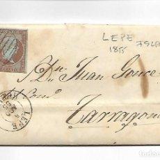 Sellos: SOBRE - CARTA COMERCIAL REINTEGRADO AÑO 1855 - DESDE ISLA - SELLADO EN LEPE. Lote 189574225