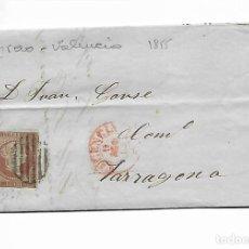 Sellos: SOBRE - CARTA COMERCIAL REINTEGRADO AÑO 1855 - DESDE GRAO - SELLADO EN VALENCIA. Lote 189574480