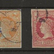 Sellos: R37/ ESPAÑA 1860-61, ISABEL II (AUTENTICOS) EDIFIL 51/3 Y 56, CATALOGO 2020 (42 €). Lote 189583880