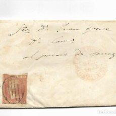 Sellos: SOBRE - CARTA COMERCIAL REINTEGRADO AÑO 1855 - DESDE SANTA COLOMA DE QUERALT. Lote 189711602