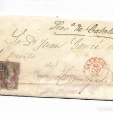 Sellos: SOBRE - CARTA COMERCIAL REINTEGRADO AÑO 1855 - DESDE VALENCIA A TARRAGONA. Lote 189733035