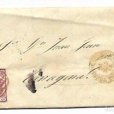 Sellos: SOBRE - CARTA COMERCIAL REINTEGRADO AÑO 1855 - DESDE TORREDEMBARRA A TARRAGONA. Lote 189733185