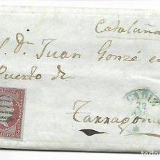 Sellos: SOBRE - CARTA COMERCIAL REINTEGRADO AÑO 1855 - DESDE CADIZ A TARRAGONA. Lote 189733781