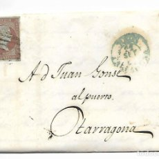 Sellos: SOBRE - CARTA COMERCIAL REINTEGRADO AÑO 1855 - DESDE REUS A TARRAGONA. Lote 189733893