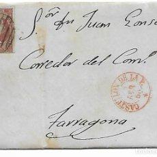 Sellos: SOBRE - CARTA COMERCIAL REINTEGRADO AÑO 1855 - DESDE CASTELLON A TARRAGONA. Lote 189735325