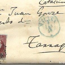 Sellos: SOBRE - CARTA COMERCIAL REINTEGRADO AÑO 1855 - DESDE MALAGA A TARRAGONA. Lote 189838943