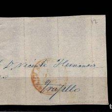 Sellos: AÑO1852 EDIFIL 12 ISABEL II FRONTAL MATASELLOS REJILLA Y ROJO SIRUELA EXTREMADURA TIPO I . Lote 189878152