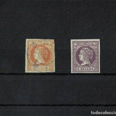 Sellos: ESPAÑA AÑO 1860/61 SIN DENTAR 2 SELLOS UNO USADO OTRO NUEVO. Lote 222415465
