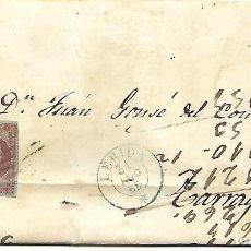 Sellos: SOBRE - CARTA COMERCIAL REINTEGRADO AÑO 1855 - DESDE LLEIDA A TARRAGONA. Lote 189974253