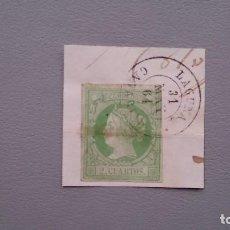 Sellos: ESPAÑA -1860-61 - ISABEL II - EDIFIL 51 - SOBRE FRAGMENTO - MATASELLOS FECHADOR - LAGUNA - CANARIAS. Lote 190288176