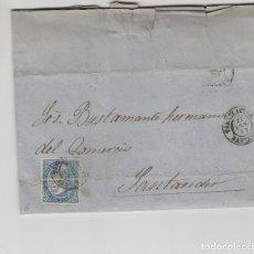 Sellos: CARTA ISABEL Nº 88 4 CUARTOS AÑO 1867 -MAT FECHADOR DE TORRELAVEGA A SANTANDER (CANTABRIA ) LLEGADA. Lote 190432161