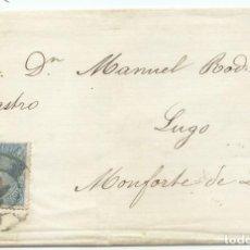 Sellos: CIRCA 1865. VALLADOLID A MONFORTE, EDIFIL 75 MAT. RUEDA CARRETA 14. Lote 190455770